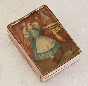 Girl Design Vintage Victorian Antique Small Needle Pin Sewing Box
