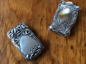 Pair Sterling Silver Match Safe Vesta Case Holly Mistletoe Gorham Webstr His Her