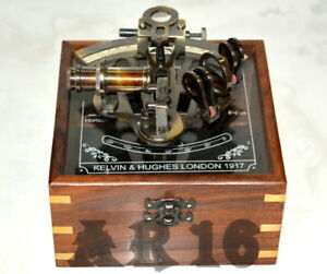 Vintage Brass Collectible German Nautical Sextant With Wooden Glass Box Gift