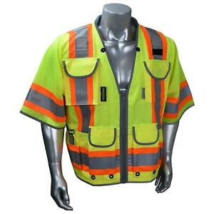 Radians Class 3 Reflective Heavy Duty Safety Vest With Pockets Yellow lime