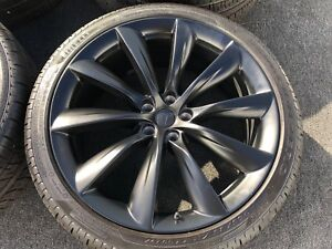 4 Genuine Tesla Model X 22 Inch Wheels Tires Rims Tpms 2018 Factory Oem Oem Rare