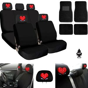 New Heart Car Truck Suv Seat Covers Headrest Floor Mats Full Set For Ford