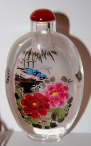 Chinese Reverse Painted Peony Birds Glass Snuff Bottle Carnelian Agate Top