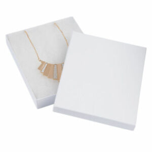 Jewelry Gift Boxes 100 White Swirl Cotton Embossed Lidded 7 X 5 X 1