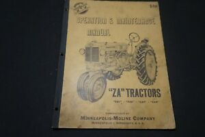 Minneapolis moline Model Za Tractors Operation And Maintenance Manual S 144 Oem