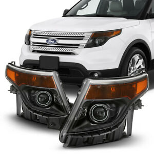 11 15 Ford Explorer Black Crystal Clear Replacement Headlight Front Signal Lamp