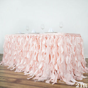 21 Ft Blush Curly Taffeta Table Skirt Wedding Party Catering Trade Show