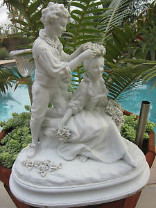 Antique French Sevres Style Bisque Parian Grouping Figurine Statue