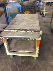 Industrial Welding Table Steel Flat 2 Shelf Cart 50 X 24 Inches Bench