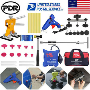 54pc Paintless Dent Repair Pdr Tools Slide Hammer T Bar Puller Glue Gun Tap Down