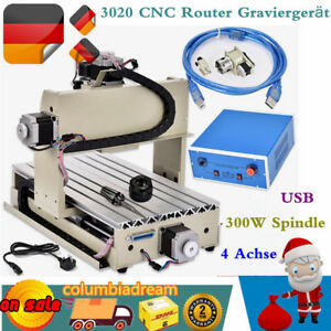 Usb 4axis 3020cnc Router Engraver 300w Spindle Drilling milling Machine Software