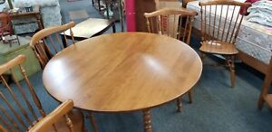Mid Century Ethan Allen Baumritter 6 Windsor Chairs Table 2 Leaves Dinette Set