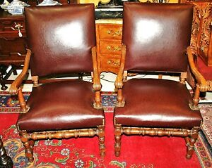 Pair Of Carved French Antique Oak Louis Xiii Armchairs Circa 1890s Accent Chairs