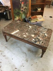 Gorgeous Vintage Henredon Marble Top Oak Coffee Table