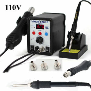 Yihua 2in1 8786d Soldering Iron Rework Station Hot Air Gun Welder Tool 3 Nozzles