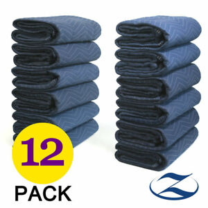 12 Heavy Duty Moving Blankets Deluxe 40 Lb dz Quilted Shipping Furniture Pads