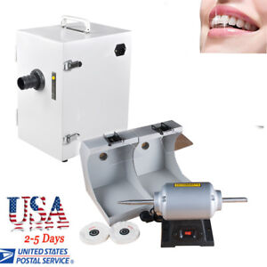 Dental Polishing Lathe W protective Lighting dust Collector Vacuum Cleaner Lab