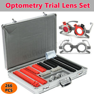 266pcs Optical Trial Lens Set Plastic Rim Optometry Case Kit W Free Trial Frame