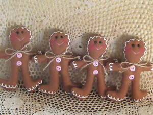 Set Of 4 Christmas Handmade Fabric Gingerbread Ornaments Bowl Fillers Home Decor