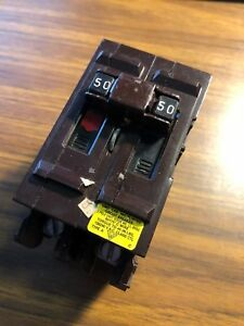 Wadsworth 50amp 2 double Pole Type Cu al Circuit Breaker Plastic Clip 120 240v
