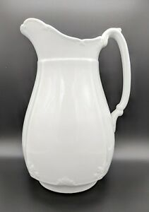Large 19th Century English Alfred Meakin White Ironstone Pitcher