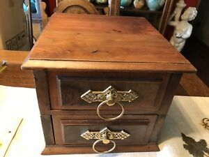 Antique Wood Two Drawer Box Dresser Box Brass Eastlake Ring Hardware Walnut