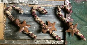 Set Of 3 Primitive Candy Cane Christmas Ornaments Rusty Bell Star Wire Canes