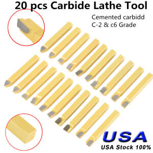 20pc 1 4 Carbide Tip Tipped Cutter Tool Bit Cutting Set For Metal Lathe Tooling