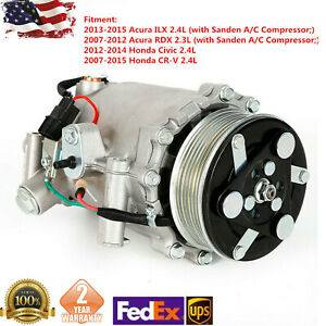 Ac A C Compressor Fit For 2007 2015 Honda Crv 2 4l 2012 2014 Civic Si Co 4920ac