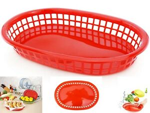 Fast Food Basket Diners Food Trucks Baskets Food Grade Plastic Red Set Of 36 New