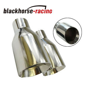 2pcs 2 5 In 4 Out Stainless Steel Polished Exhaust Tip Duo Layer Straight