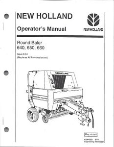 New Holland 640 650 660 Round Baler Operator Manual 42064033