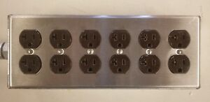 6 gang Masonry Box W 20a Outlets Stainless Cover Plate And Kellems Grip