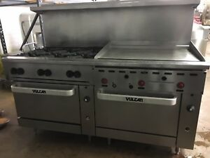 Vulcan 72 Natural Gas 6 Burner Range W 36 Thermostat Griddle
