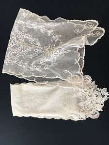 Antique French Lace Dresser Scarf And Lappet