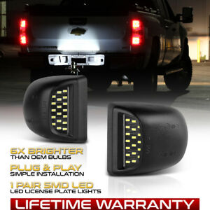 1999 2013 Chevy Silverado Avalanche Bright Smd Led License Plate Lights Lamp Set