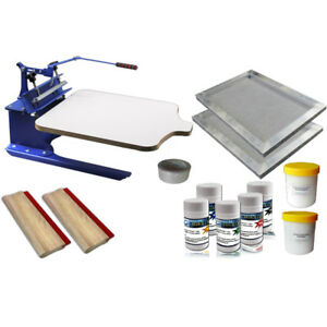 1 Color Screen Printing Kit Tilt Press Printer With Screen Frame Ink Scraper
