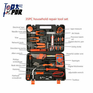 Professional 35x Household Home Hand Tool Electric Screwdriver Wrench Bag Kit Us