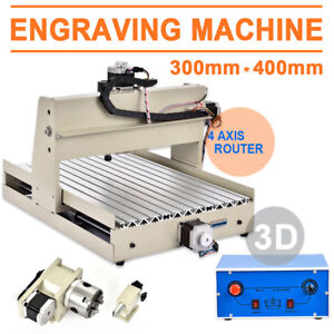 4axis 3040 Cnc Router Engraver Engraving 400w Woodworking Drill carving Machine