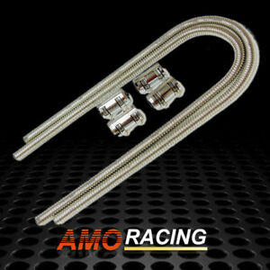 44 Chrome Stainless Steel Heater Radiator Hose Kit W 4 Polished Caps Set Gm