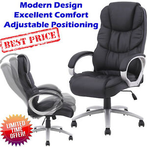 Ergonomic Office Chair Pu Leather Black High Back Computer Desk Task Comfort