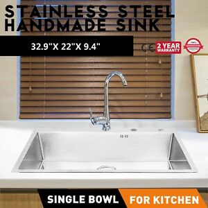 33 X 22 Stainless Steel Handmade Single Bowl Sink Service Wash Sinks Hospital