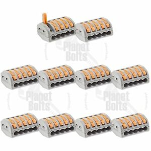 10x Reusable Lever Lock Home Wire Connector 5 Slot Terminal Block Clamp Nuts
