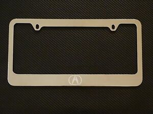 Acura Logo Chrome License Plate Frame Chrome Metal Brushed Aluminum Text