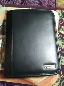 Compact 1 25 Rings Black Leather Franklin Covey Zip Planner binder W Tab