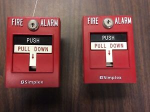 Simplex Pull Station 596b Fire Alarm Box Lot Of 2 2