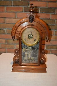 Rare Antique Ansonia Walnut Brass Etched Glass Parlor Mantle Clock Euc
