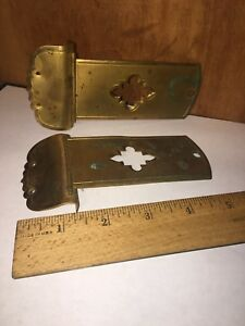 2 Vintage Ornate Hinge Hinges Brass