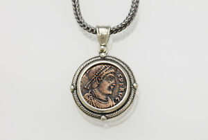 Sterling Silver Necklace With A Genuine Ancient Roman Bronze Coin W Cert 007