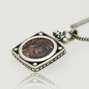 Sterling Silver Necklace With Genuine Ancient Roman Bronze Coin W Cert 003